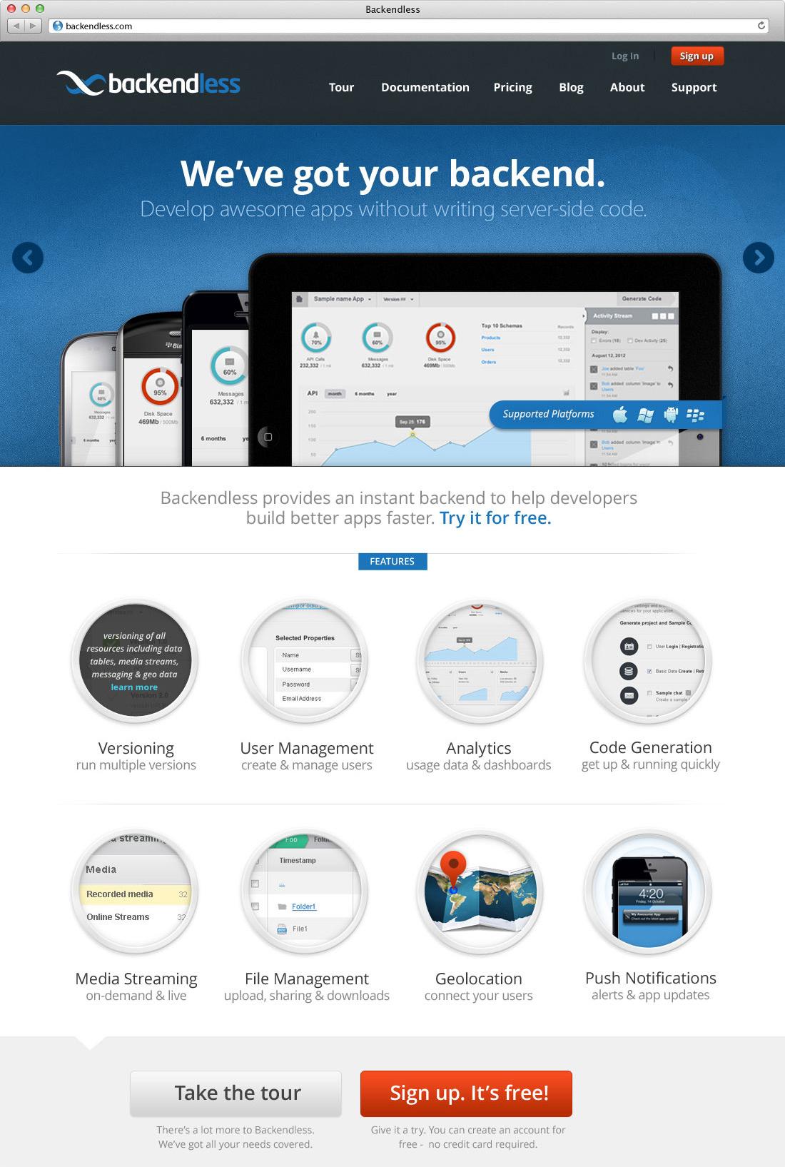 Backendless Website